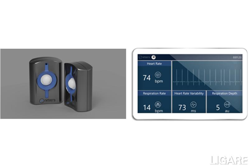 非接触生体センサー(NE130x)およびデータ取得画面 © Neteera Technologies Ltd.