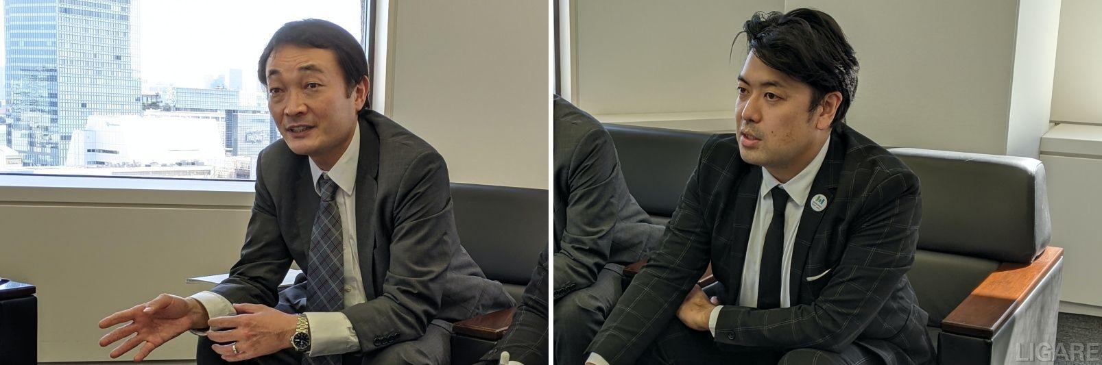 環境改善委員会事務局の小林洋平事務局長(左)とスマートシティTFの村上拓也氏(右)