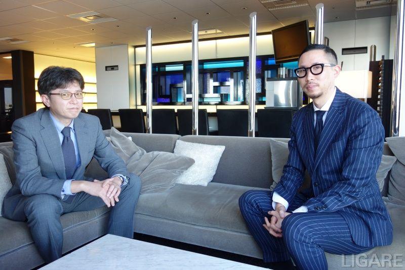 S.RIDE株式会社 代表取締役社長の西浦賢治氏(左)と株式会社ニューステクノロジー代表取締役の三浦純揮氏(右)