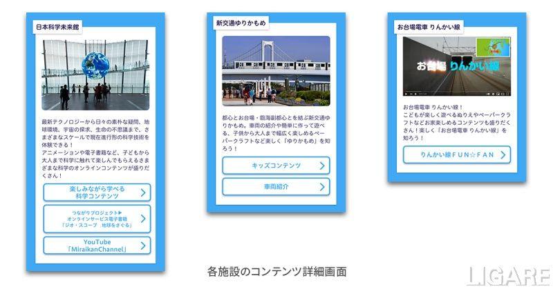 各施設のコンテンツ画面イメージ