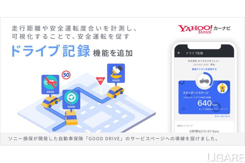Yahoo!カーナビ ドライブ記録