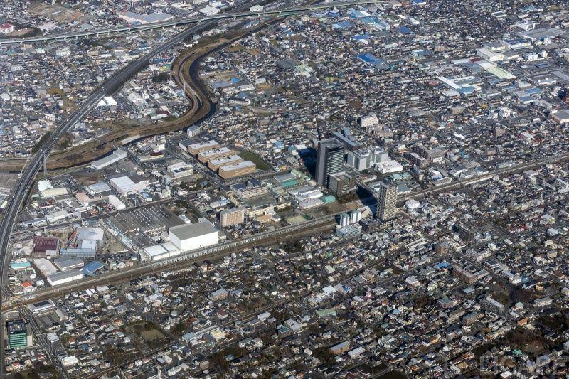 静岡市JR草薙駅付近の空撮