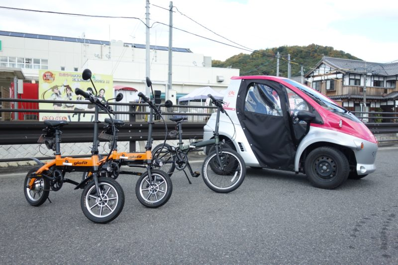 竹原駅で貸し出しを行なっている近距離型の移動手段