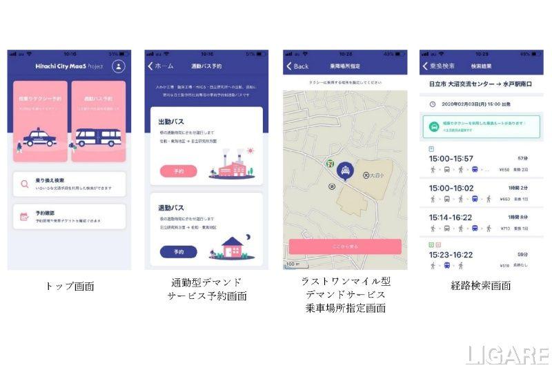「Hitachi City MaaS Project」サービス画面