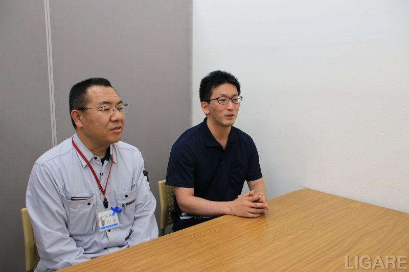 赤磐市建設課・主幹 行正氏(左)地域整備推進室・主任 須波氏(右)