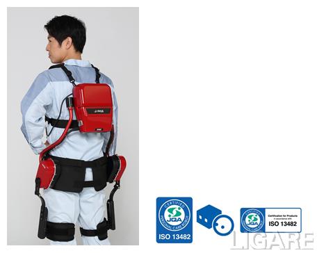 「J-PAS」装着イメージ(左) ISO 13482 認証マーク(右)