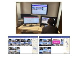 (上)実証実験で東京から遠隔監視を行う様子、(左下)遠隔見守り画面正常時、(右下)遠隔見守り画面異常検知時