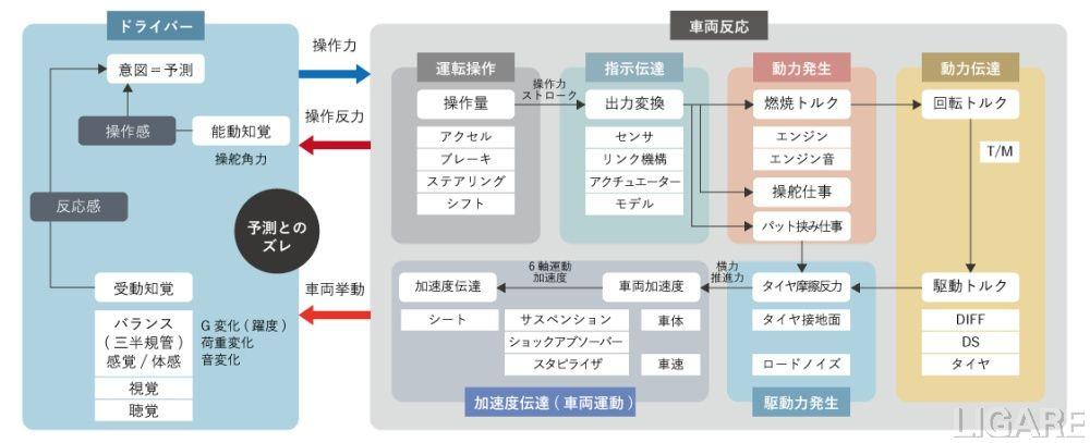 運転感性の応答チャート(例)